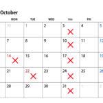 2019年10月は臨時のお休みがあります